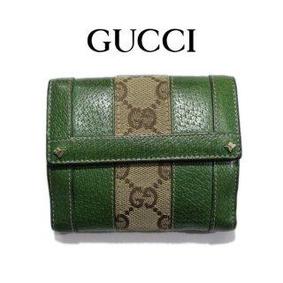 GUCCI グッチ<br>【Vintage ヴィンテージ】<br>GGキャンバス×レザースタッズ二つ折り財布