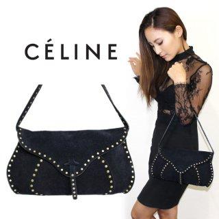 CELINE セリーヌ ヴィンテージ<br>スタッズスウェードレザーハンドバッグ