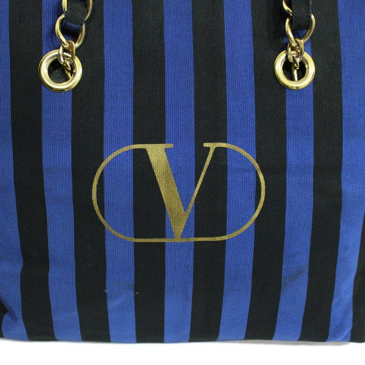 VALENTINO ヴァレンティノ ヴィンテージ<br>ストライプロゴチェーンバッグ