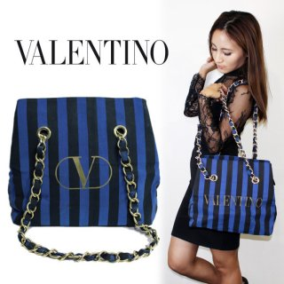 VALENTINO ヴァレンティノ<br>【Vintage ヴィンテージ】<br>ストライプロゴチェーンバッグ