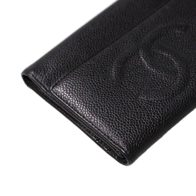CHANEL シャネル ヴィンテージ<br>ココマークキャビアスキン三つ折り財布 ブラック