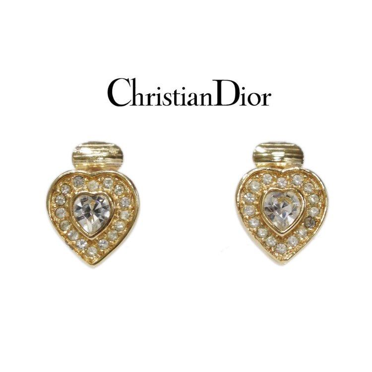 Dior ディオール ヴィンテージ<br>ハートビジューイヤリング