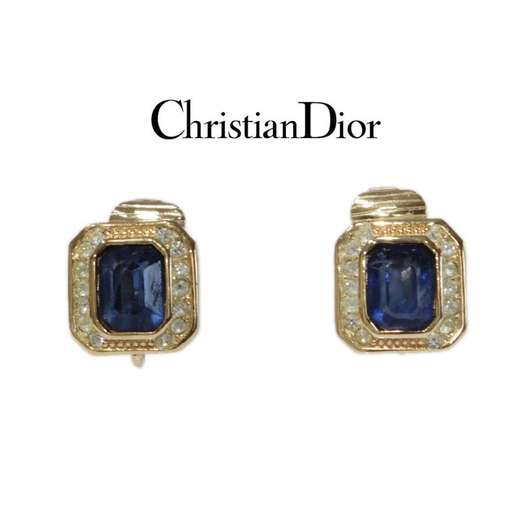 Dior ディオール ヴィンテージ<br>カラーストーンスクエアイヤリング