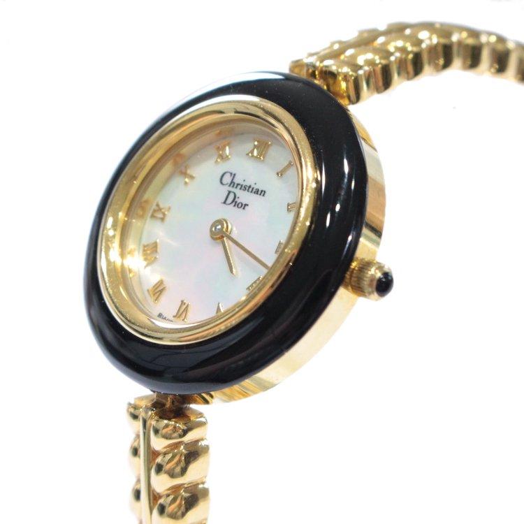 Dior ディオール ヴィンテージ<br>シェル×ゴールドブレスQZ腕時計 ブラック