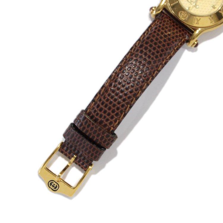 GUCCI グッチ ヴィンテージ<br>リザードベルトQZ腕時計 6500L