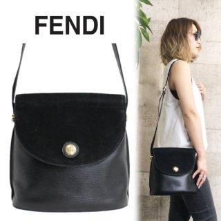 FENDI フェンディ ヴィンテージ<br>スウェード×型押しレザーショルダーバッグ