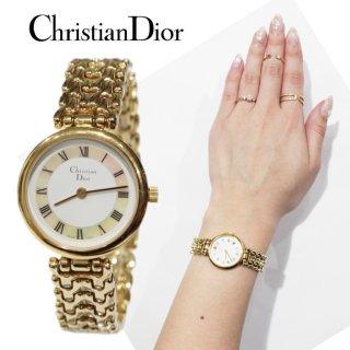 Dior ディオール ヴィンテージ<br>シェル×ゴールドQZ腕時計