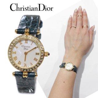 Dior ディオール ヴィンテージ<br>シェル×ラインストーンレザーベルトQZ腕時計