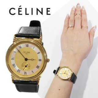 CELINE セリーヌ ヴィンテージ<br>シェル×レザーベルトQZ腕時計(ユニセックス)
