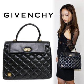 GIVENCHY ジバンシー ヴィンテージ<br>ロゴ×キルティングレザーハンドバッグ