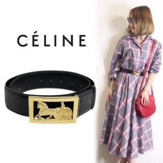 CELINE セリーヌ ヴィンテージ<br>馬車金具カーフレザーベルト