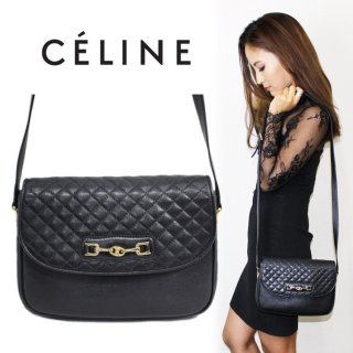 CELINE セリーヌ ヴィンテージ<br>ブラゾン金具キルティングショルダーバッグ
