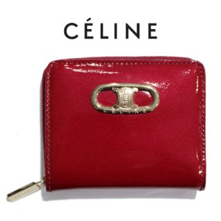 CELINE セリーヌ ヴィンテージ<br>ブラゾンエナメル二つ折り財布 レッド