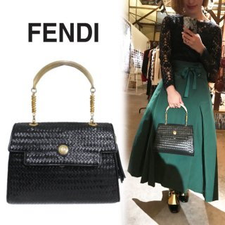 FENDI フェンディ ヴィンテージ<br>イントレチャートレザーハンドバッグ