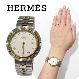 HERMES エルメス ヴィンテージ<br>クリッパーコンビQZ腕時計