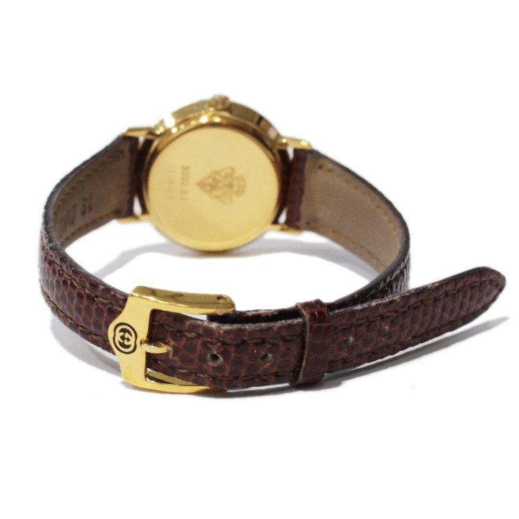 GUCCI グッチ ヴィンテージ<br>レザーベルトQZ腕時計 3000.2.L ブラウン