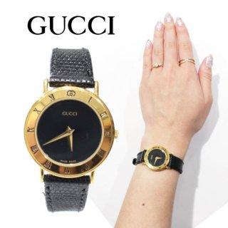 GUCCI グッチ ヴィンテージ<br>レザーベルトQZ腕時計 3000.2.L ブラック