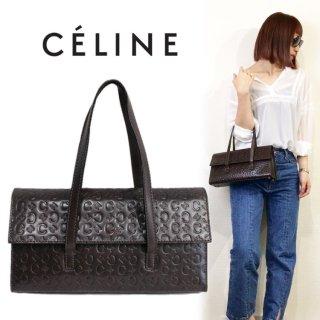 CELINE セリーヌ ヴィンテージ<br>ブラゾン総柄カーフレザーハンドバッグ