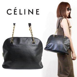 CELINE セリーヌ ヴィンテージ<br>ボリード型チェーンショルダーバッグ