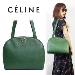CELINE セリーヌ ヴィンテージ<br>ロゴサークル金具レザーショルダーバッグ グリーン