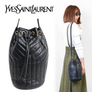 YSL イヴサンローラン ヴィンテージ<br>Yステッチ巾着ショルダーバッグ ブラック