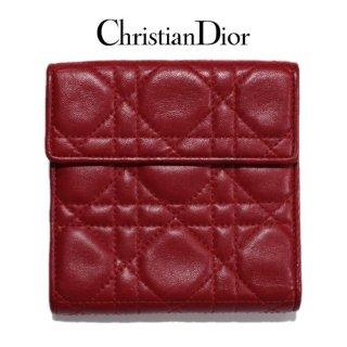 Dior ディオール ヴィンテージ<br>カナージュ二つ折り財布 レッド