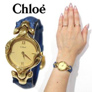Chloe クロエ ヴィンテージ<br>レザーベルトQZ腕時計 ブルー