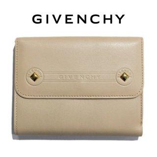 GIVENCHY ジバンシー ヴィンテージ<br>スタッズロゴレザー二つ折り財布 ベージュ