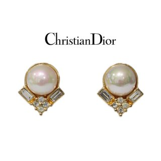 Dior ディオール ヴィンテージ<br>フェイクパールラインストーンイヤリング