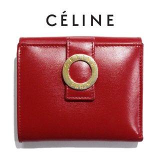 CELINE セリーヌ ヴィンテージ<br>サークル金具Wホック二つ折り財布