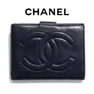 CHANEL シャネル ヴィンテージ<br>ラムスキンココマーク二つ折りがま口財布 ネイビー