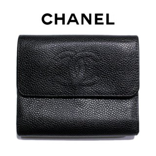 CHANEL シャネル ヴィンテージ<br>ココマークキャビアスキン三つ折り財布