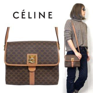 CELINE セリーヌ ヴィンテージ<br>マカダム柄ロゴ金具コンパクトショルダーバッグ
