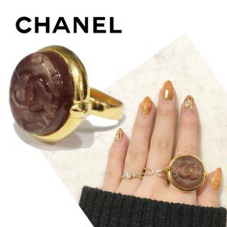 CHANEL シャネル ヴィンテージ<br>ココマークべっこうゴールドリング