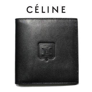 CELINE セリーヌ ヴィンテージ<br>ブラゾン型押しレザー二つ折り財布