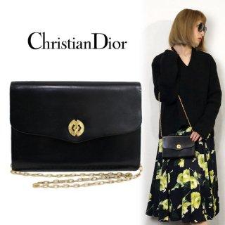 Dior ディオール ヴィンテージ<br>コンパクトレザーチェーンショルダーバッグ