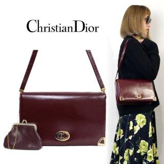 Dior ディオール ヴィンテージ<br>スクエアレザーショルダーバッグ(がま口コインケース付)
