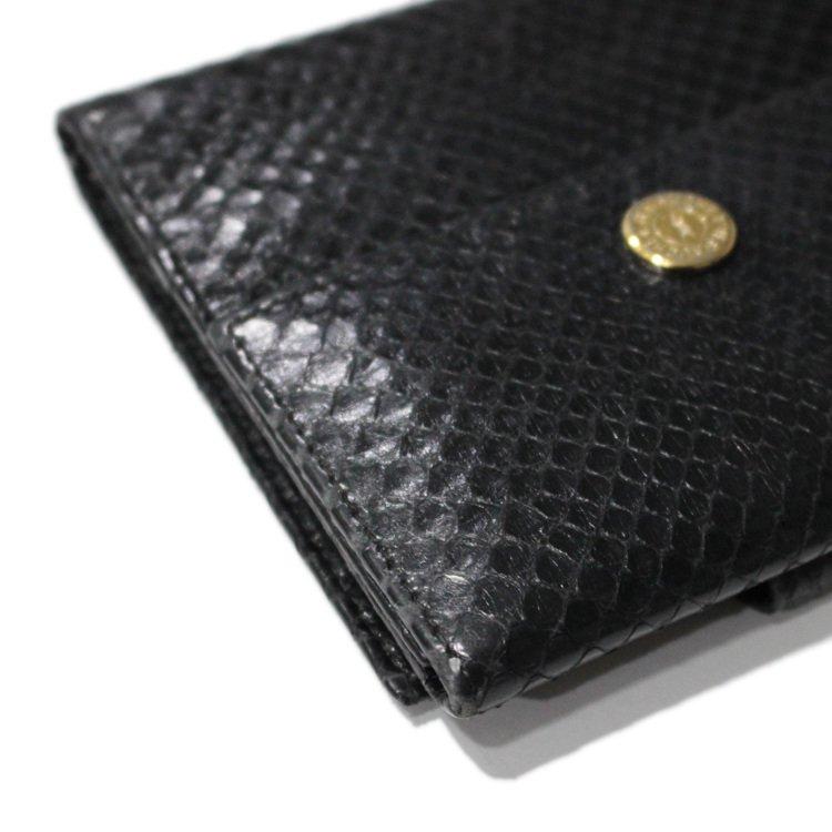 YSL イヴサンローラン ヴィンテージ<br>パイソン柄レザー二つ折り財布