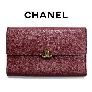 CHANEL シャネル ヴィンテージ<br>ココマーク三つ折りビッグサイズ長財布 レッド