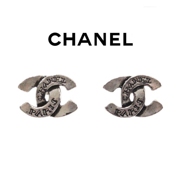 CHANEL シャネル ヴィンテージ<br>90'sココマークシルバーロゴイヤリング