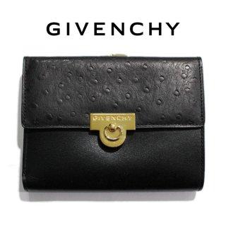 GIVENCHY ジバンシー ヴィンテージ<br>オーストリッチ型押し二つ折り財布