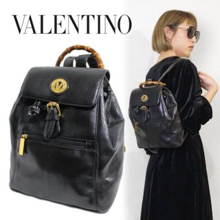 VALENTINO ヴァレンティノ ヴィンテージ<br>リザード型押しバンブーハンドルリュック