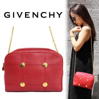 GIVENCHY ジバンシー ヴィンテージ<br>チェーンショルダーバッグ レッド