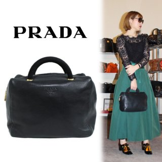 <img class='new_mark_img1' src='https://img.shop-pro.jp/img/new/icons14.gif' style='border:none;display:inline;margin:0px;padding:0px;width:auto;' />PRADA プラダ ヴィンテージ<br>レザーボストンハンドバッグ ネイビー
