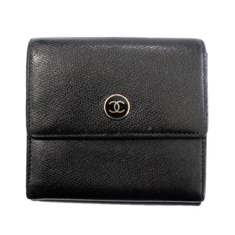 CHANEL シャネル ヴィンテージ<br>ココボタンレザー二つ折り財布