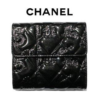 CHANEL シャネル ヴィンテージ<br>エナメルアイコンWホック二つ折り財布