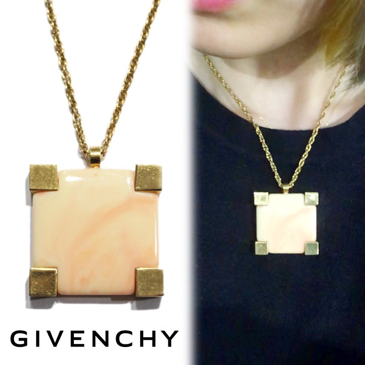 GIVENCHY ジバンシー ヴィンテージ<br>70'sストーンスクエアネックレス