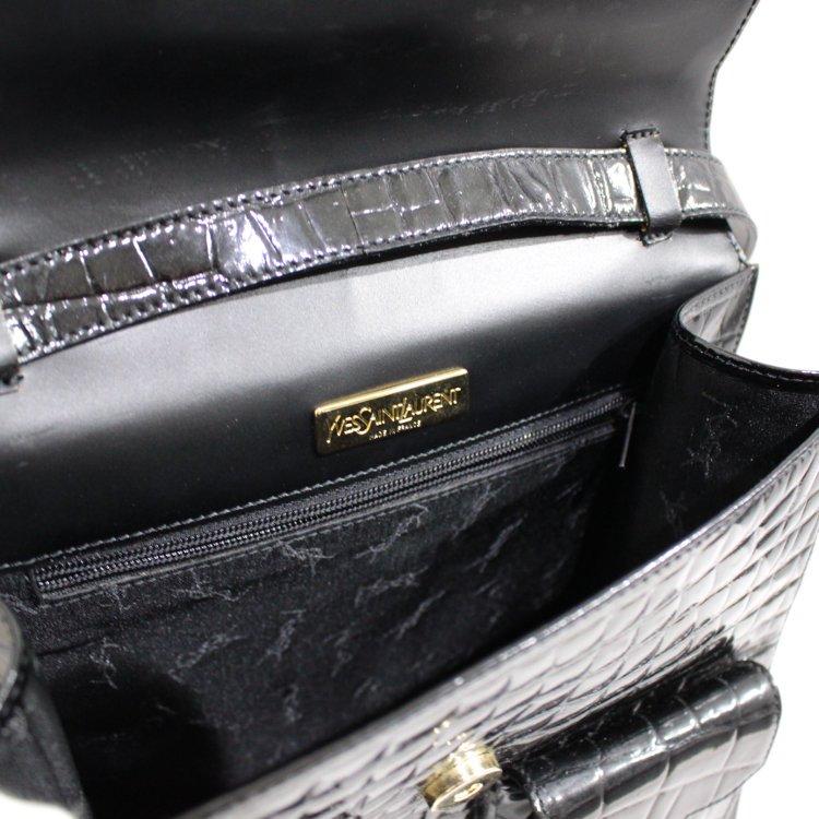 YSL イヴサンローラン ヴィンテージ<br>ロゴ×クロコ型押しレザーショルダーバッグ