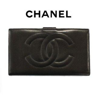CHANEL シャネル ヴィンテージ<br>ビッグココマークカーフレザー長財布