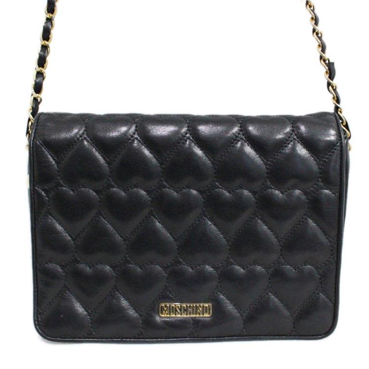 MOSCHINO モスキーノ ヴィンテージ<br>ハートキルティングレザーチェーンショルダーバッグ